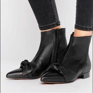 Asos Alabama Black Pebbled Leather Boots Size 10